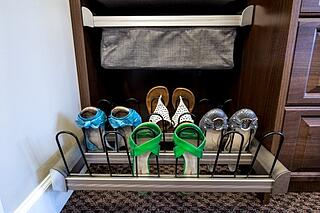 Shoe organization from Valet Custom Cabinets & Closets