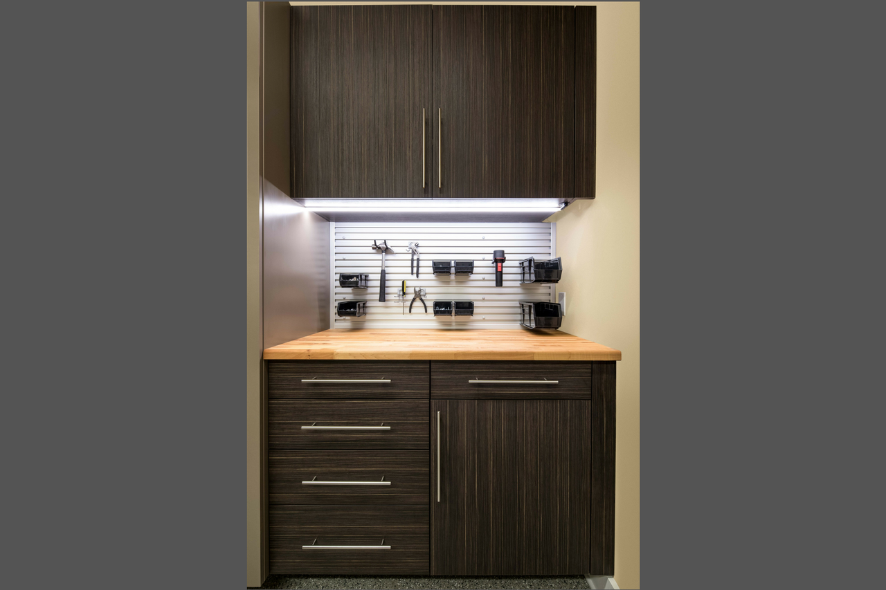 Terra Textured Thermally Fused Laminate with Butcher Block Counter