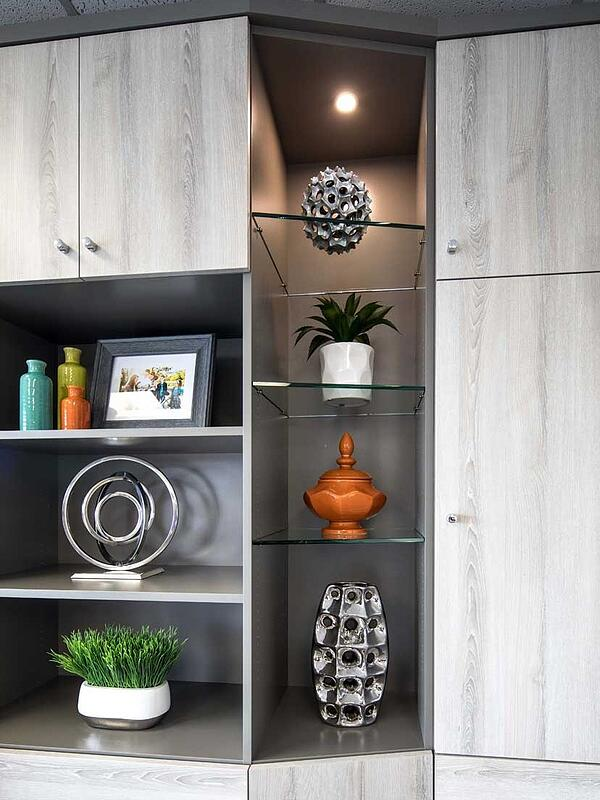 Solid shelves and Glass shelves with LED spotlight