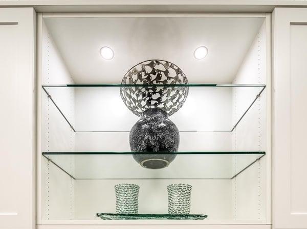 Glass shelves with LED spotlight