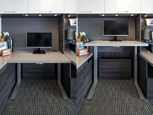 Electronic sit/stand desk by Valet Custom Cabinets & Closets