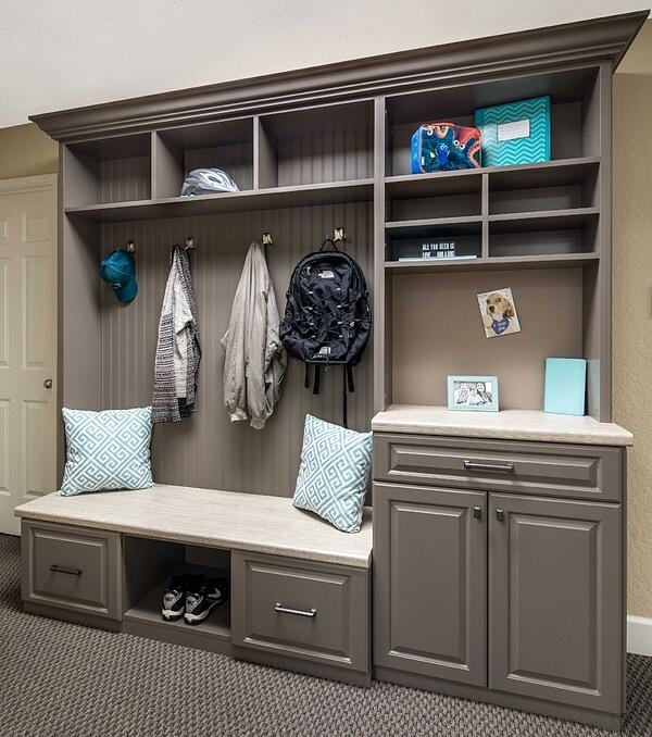 Mudroom designed by Valet Custom Cabinets & Closets