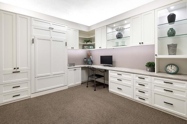 Custom Home Office with Wall Bed from Valet Custom Cabinets & Closets