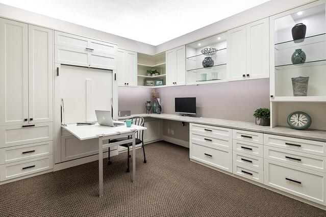 Custom Home Office with Wall Bed Table from Valet Custom Cabinets & Closets