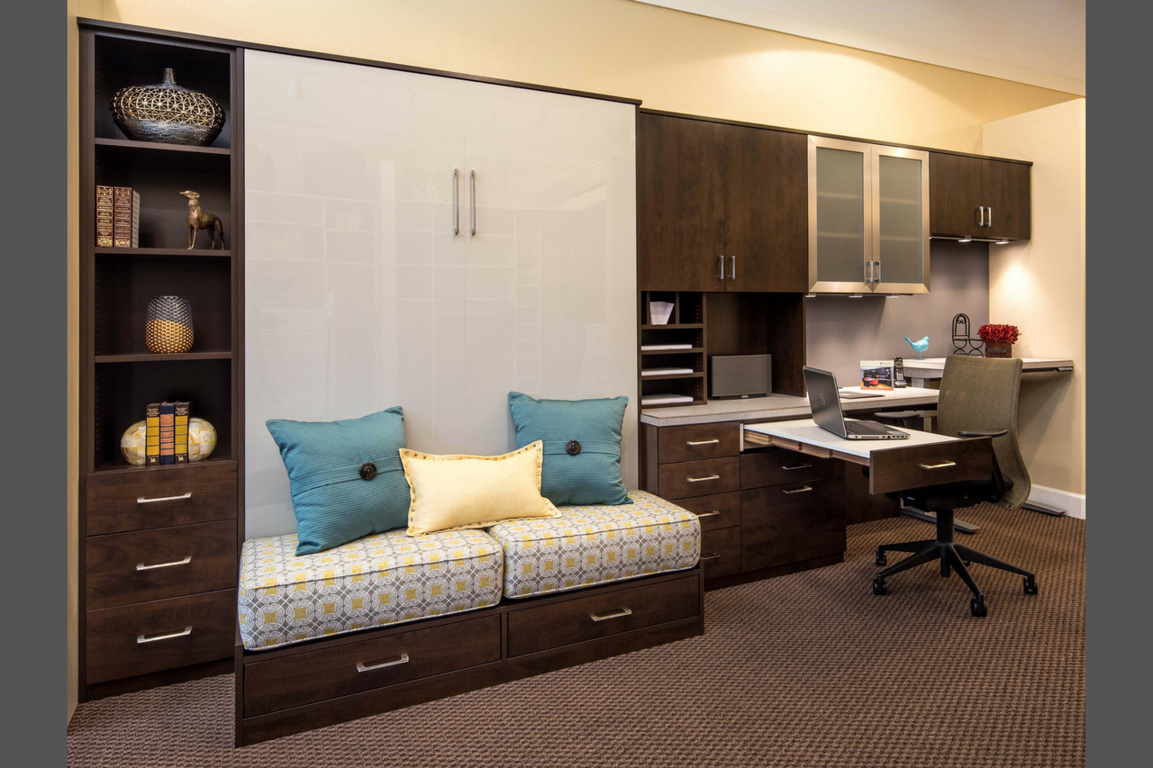 office bed. BELGIAN CHOCOLATE THERMALLY FUSED LAMINATE - SMOKE GLOSS ACRYLIC AND ALUMINUM FRAME FRONTS Office Bed