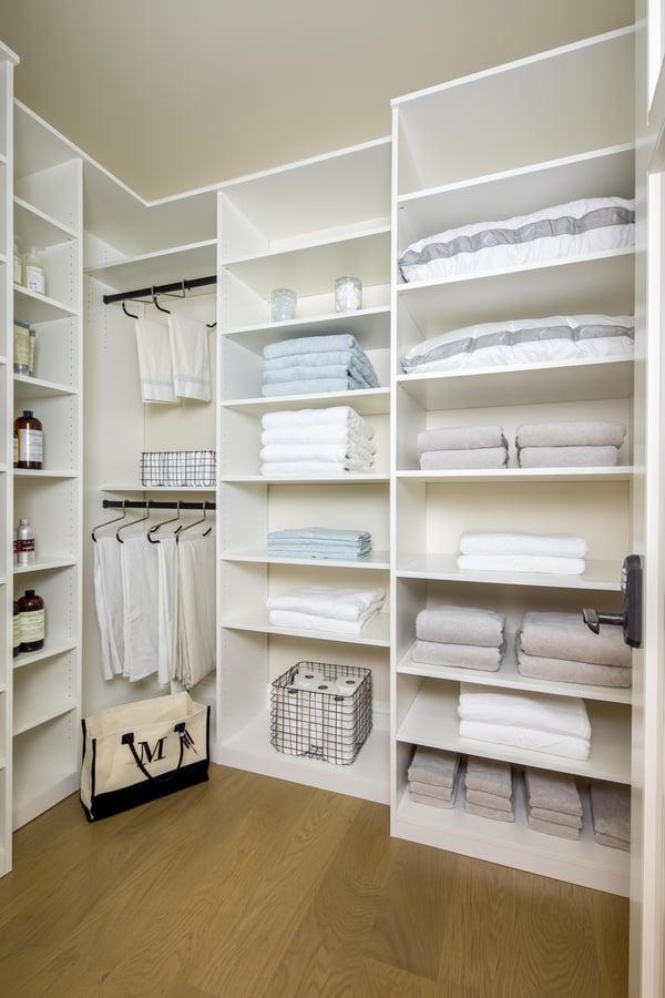 Valet Custom Cabinets & Closets - White TFL - Linen Closet
