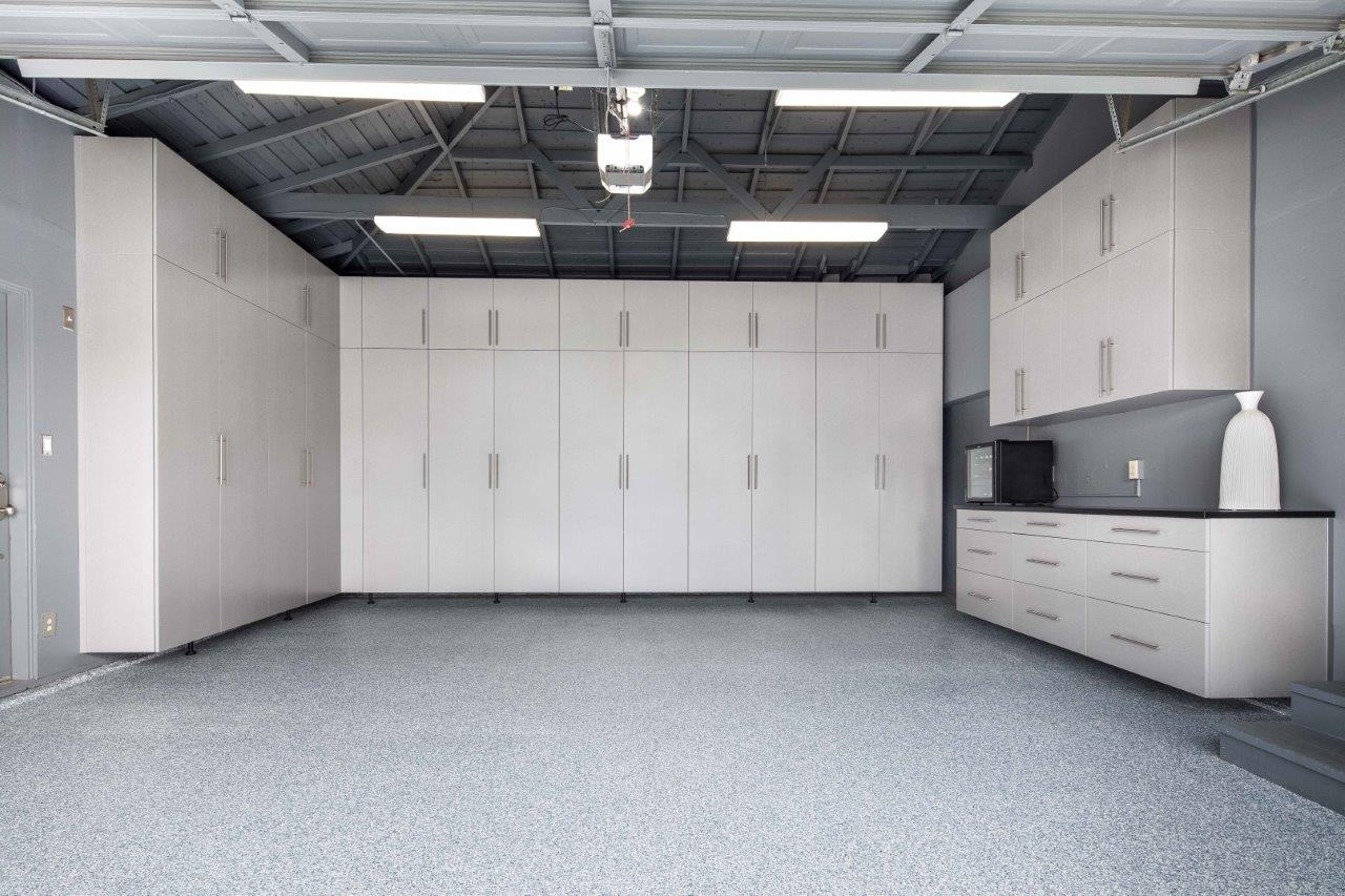 Custom Garage with Dove Epoxy Flooring