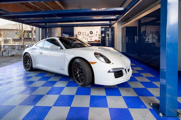 Award-Winning Atlantic Blue Garage by Cynthia Padden of Valet Custom Cabinets & Closets