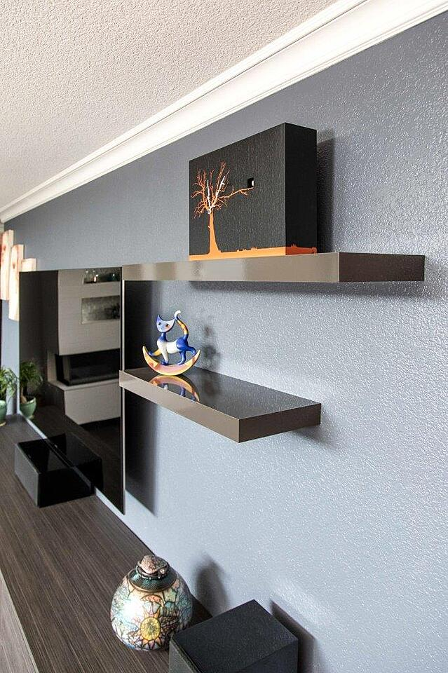 Mineral Gloss Floating Shelves by Valet Custom Cabinets & Closets