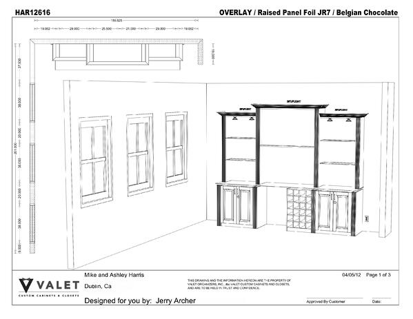 A CAD Drawing for a Valet Custom Cabinets & Closets customer
