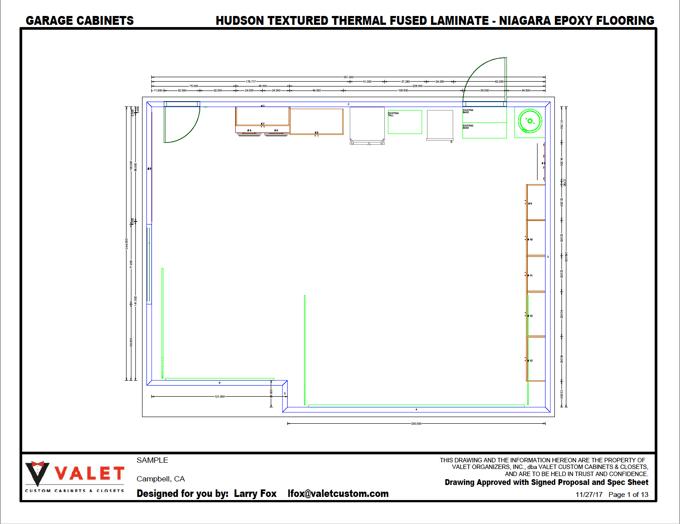 Custom Garge CAD drawing, Valet Custom Cabinets & Closets