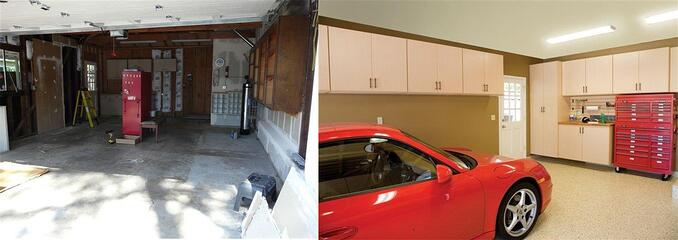Before and After, Custom Garage by Valet Custom Cabinets & Closets