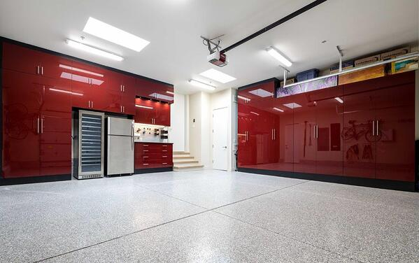 Custom Garage by Valet Custom Cabinets & Closets Black TFL with Ruby Red Acrylic Fronts - Full View