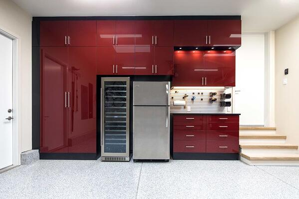 Custom Garage by Valet Custom Cabinets & Closets Black TFL with Ruby Red Acrylic Fronts - Straight Close Up