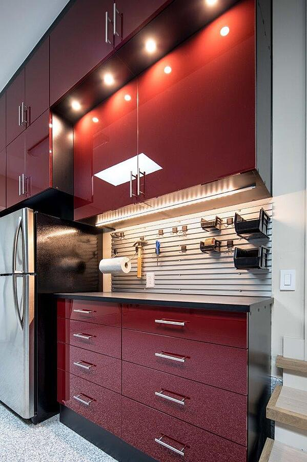 Custom Garage by Valet Custom Cabinets & Closets Black TFL with Ruby Red Acrylic Fronts - Lf Angle