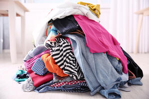 Pile of clothes from purging