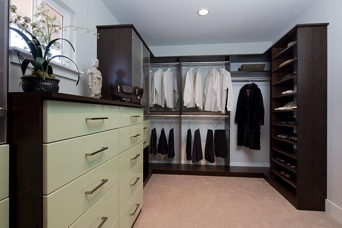 custom-designed his and hers walk-in closet