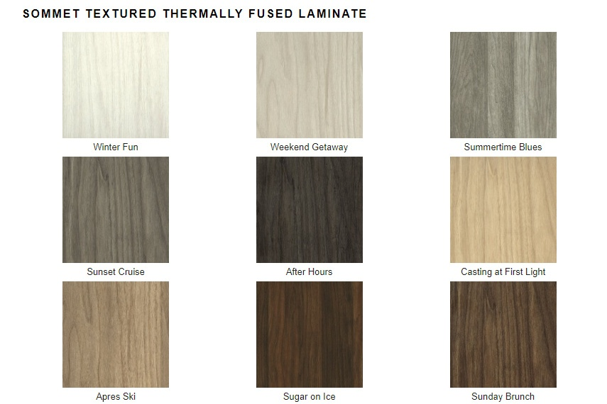 A selection of Textured Thermally Fused Laminates available at Valet Custom Cabinets & Closets