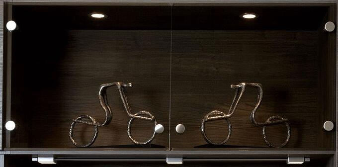 Frameless Glass Doors with LED Display Lights by Valet Custom Cabinets & Closets