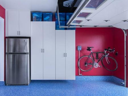 Garage cabinets with storage bins