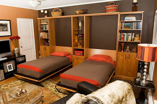 Dual Twin Vertical Tilt Wall Beds by Valet Custom Cabinets & Closets