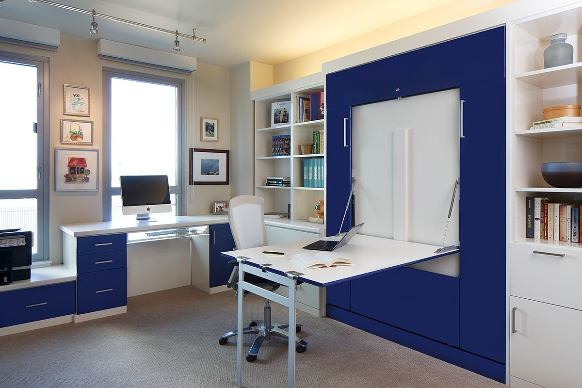 Pictures of murphy beds - Glossy Antique White And Sonic Blue Foil Fronts