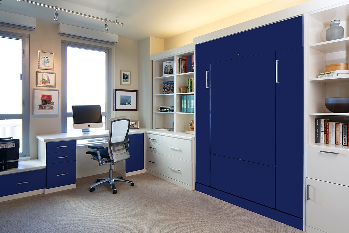Home office solutions Storage Glossy Antique White And Sonic Bluefoil Fronts Valet Custom Cabinets Closets Valet Custom High End Wall Beds Home Office Solutions In Silicon
