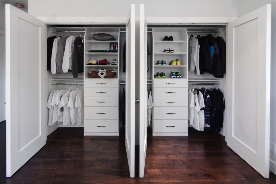 Custom reach in closets Closet Ideas White Thermally Fused Laminate Flat Fronts Uber Custom Storage Valet Custom Closet Organizers Storage Solutions For Reachin