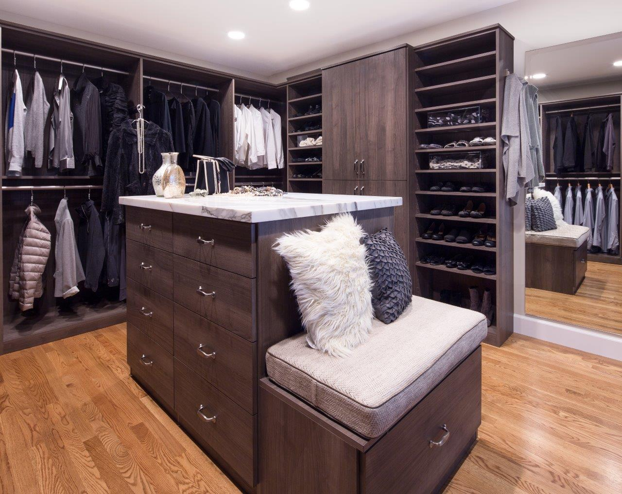 Custom Deluxe Walk-in Closet by Valet Custom Cabinets & Closets