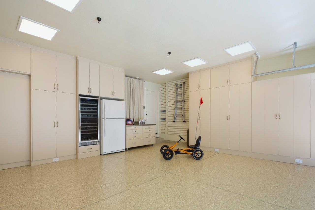 valet custom high end garage cabinets storage solutions in white thermally fused laminate cabinets beige hpl fronts