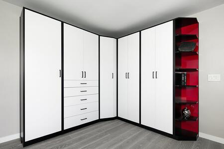 Sculpted White-Red-Black HPL - Wardrobe Closed