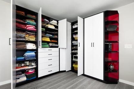 Sculpted White-Red-Black HPL - Wardrobe Open