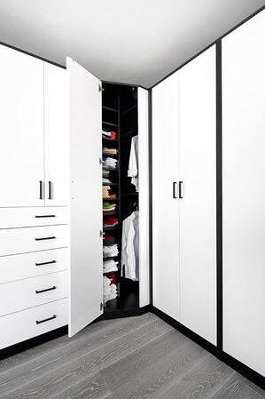 Scultped White HPL - Corner Wardrobe