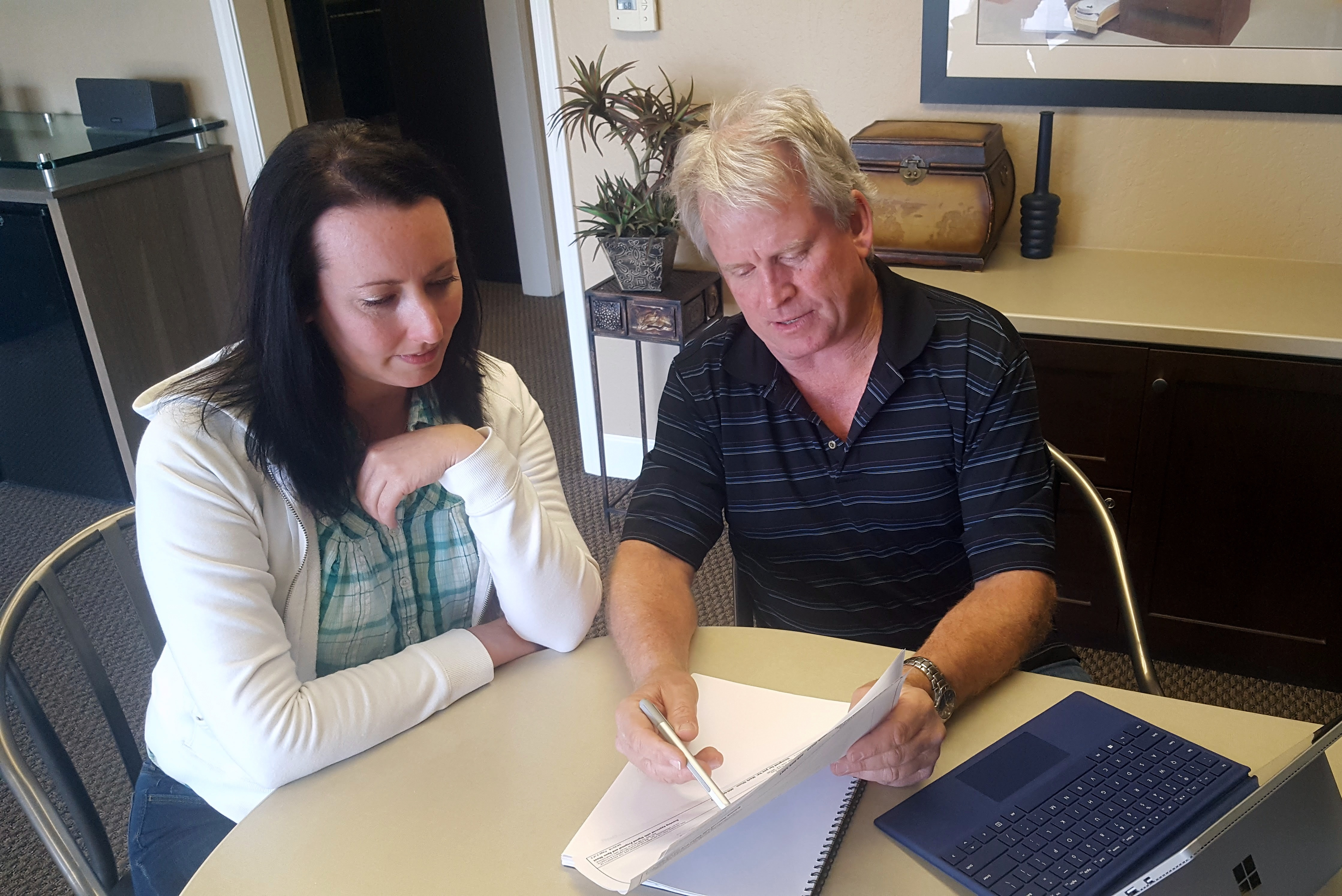A client meeting with Valet Custom Cabinets & Closets designer, Mark Olson