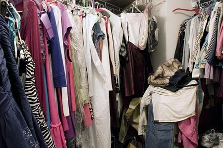 Messy, unorganized closet